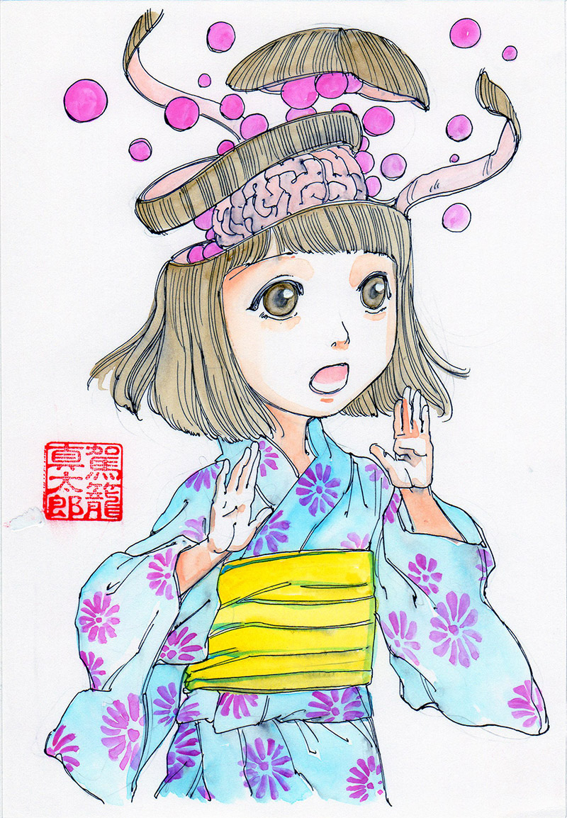 Girl in kimono has her head unravel
