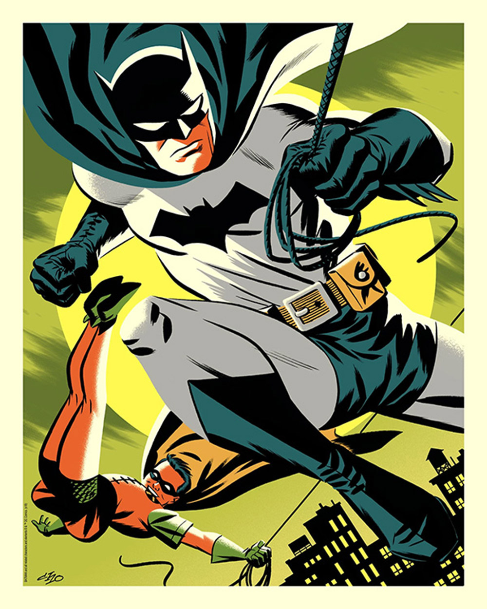 Batman The Dynamic Duo Green Variant Edition Lithograph