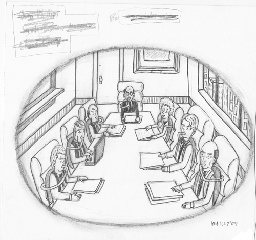 Pencil Illustration (board room)