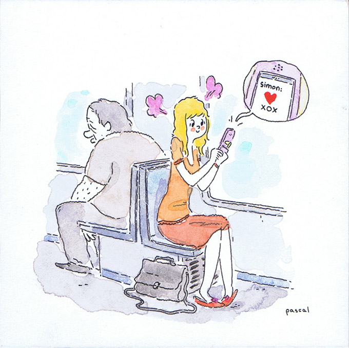 Illustration - Girl getting happy text message