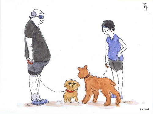 Illustration - 2 Dogs and 2 Owners