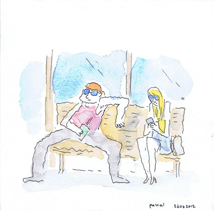 Illustration - Man and Woman on Bench