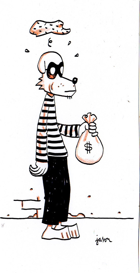 Classic robber with bag of money