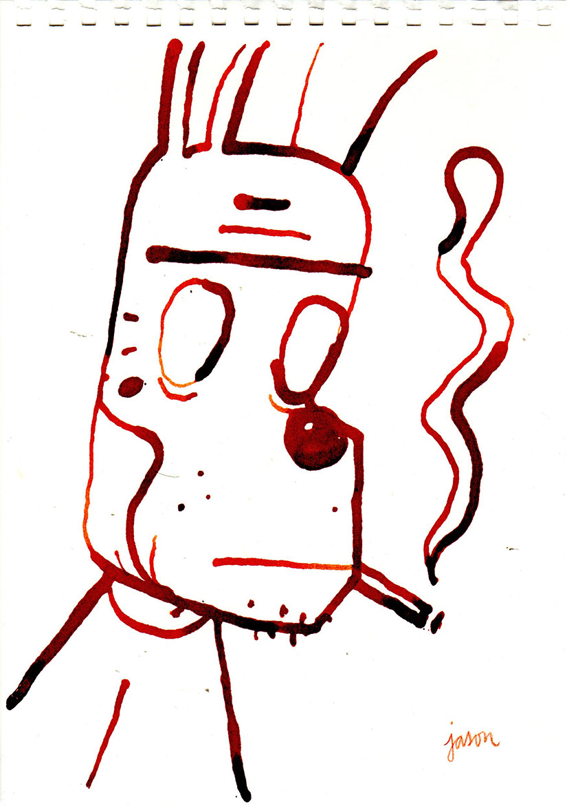 Smoker in red ink