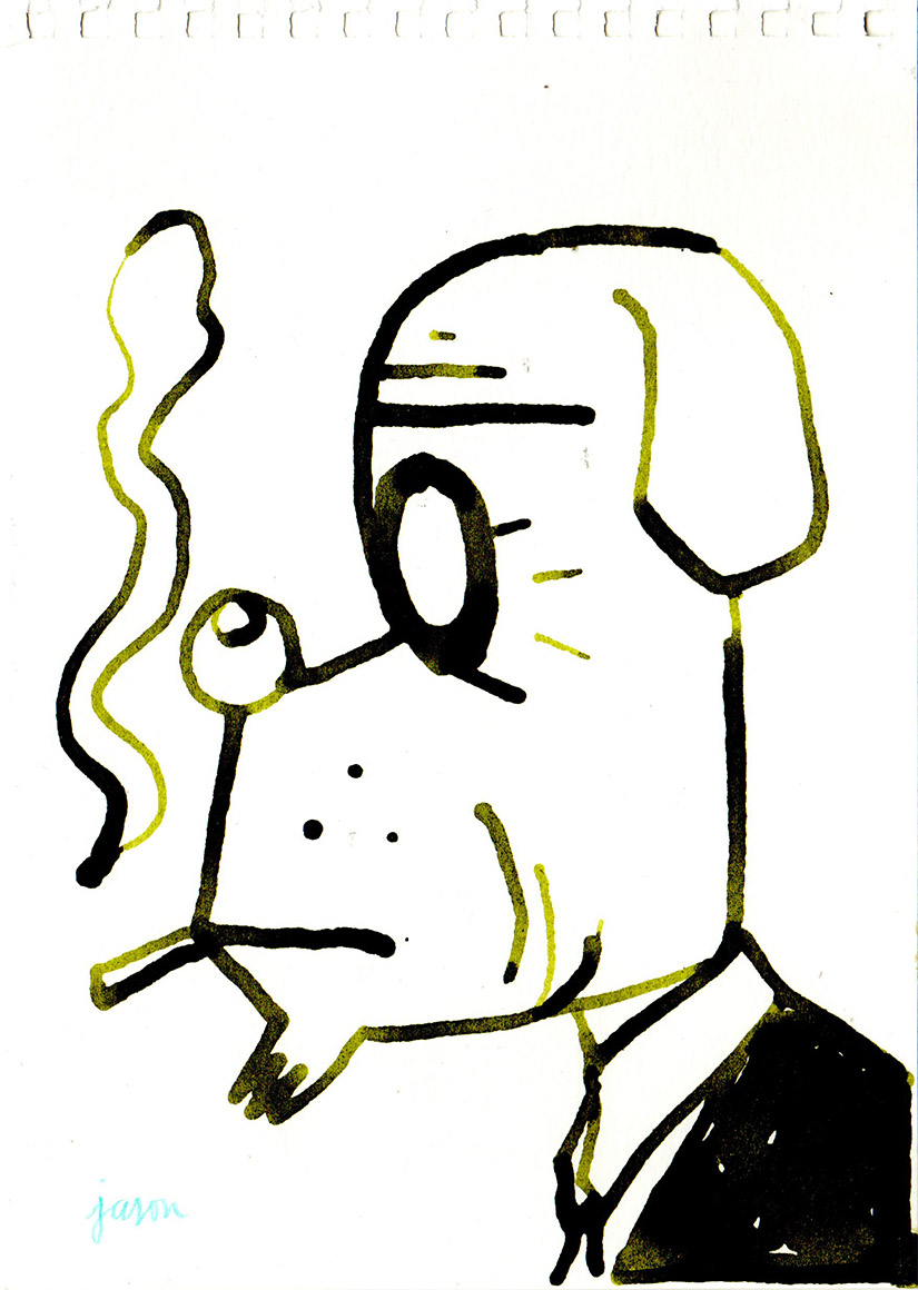 Smoker in green ink