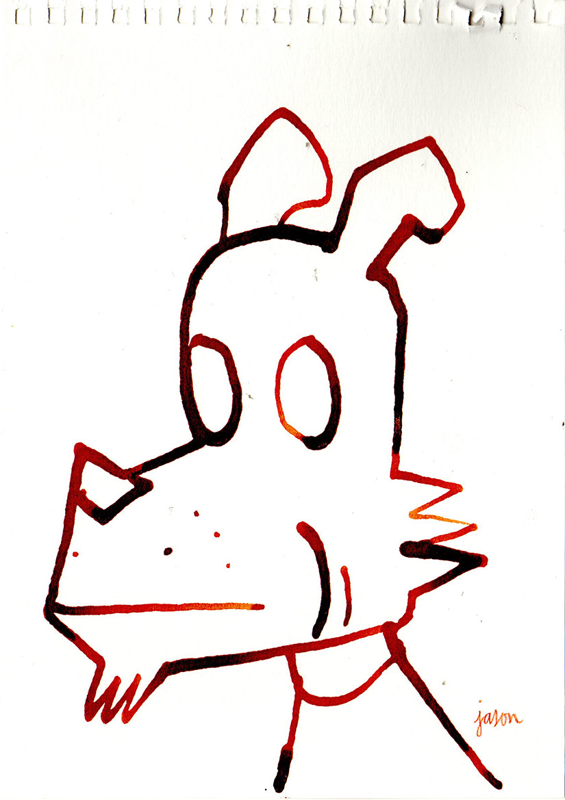 Dog 2 in Red ink