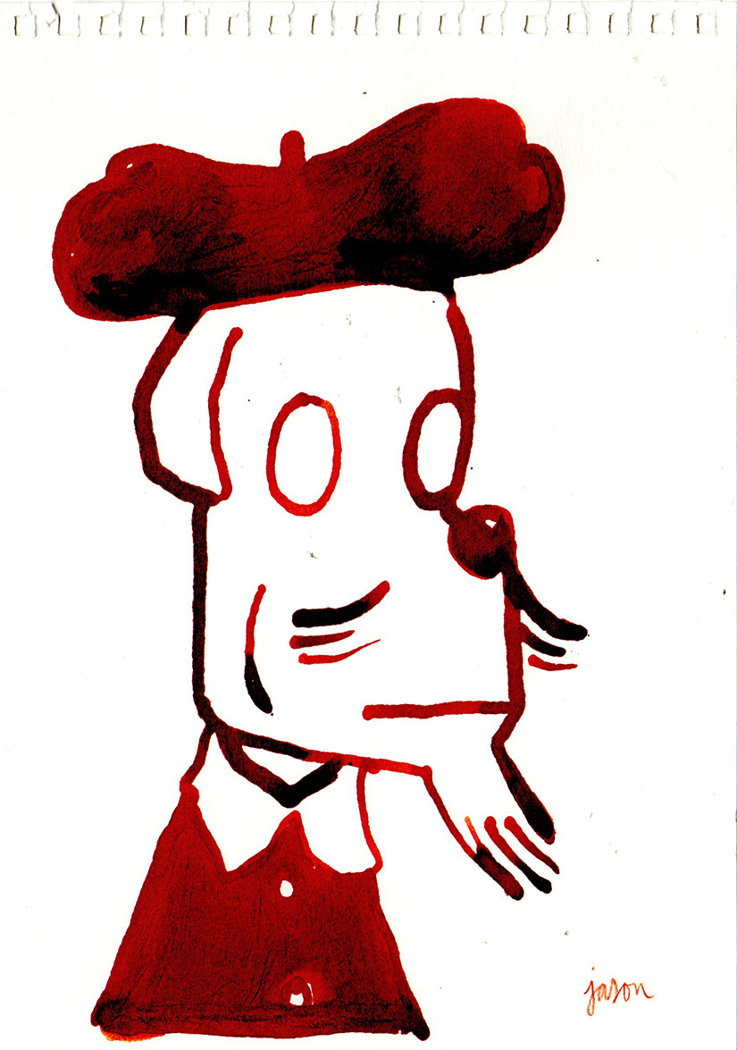 Beret in red ink